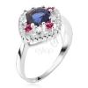 Gyűrű 925 ezüstből, kék kerek cirkónia, átlátszó és rózsaszín kövek