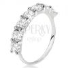 Gyűrű 925 ezüstből, sáv átlátszó, kerek cirkóniákból