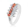 Ezüst színű gyűrű, vízszintes átlátszó és narancssárga cirkóniás vonal