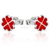 Bedugós ezüst fülbevaló - piros szívek négylevelű lóherében