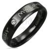 Gyűrű acélból - fekete felület, szerelmes üzenet, tiszta cirkónia