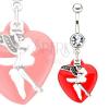 Piercing a köldökbe sebészeti acélból - tündér és piros szív
