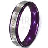 Foverer Love gyűrű acélból - ezüst színű sáv, lila szegélyek