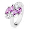 Csillogó ezüst színű gyűrű, lila cirkóniás szem, átlátszó cirkóniák