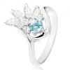 Fényes gyűrű ezüst színben, átlátszó cirkóniás legyező, világoskék cirkónia