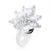 Csillogó ezüst színű gyűrű, átlátszó cirkóniás virág, fényes levél