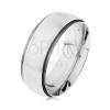 Gyűrű 316L acélból, sáv ezüst színben, sötétszürke fényes szél