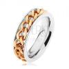 Acél gyűrű, lánc arany színben, tükörfény