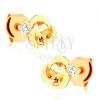 Fülbevaló 14K sárga aranyból - virág fényes félholdakból, sárga citrin