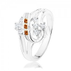 Ezüst színű gyűrű, kettős spirál narancssárga és átlátszó cirkóniákból