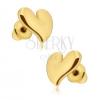 Fülbevaló fényes arany színben, asszimetrikus szívek