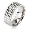Fényes acél gyűrű - ezüst karika, apró csillogó piramisok