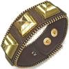 Masszív csuklópánt - barna, arany piramisok, cipzár