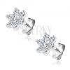Ezüst fülbevaló - virág tiszta cirkonkövekből