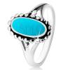 925 ezüst gyűrű, ovális türkizből, golyós kontúr, szétválasztott szárak