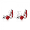 Fülbevaló 925 ezüstből - piros hangjegy