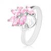 Csillogó ezüst színű gyűrű, rózsaszín szem ágacska