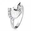 925 ezüst gyűrű, nagyobb és kisebb talp, átlátszó csillogó kövek