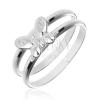 Gyűrű 925 ezüstből - dupla karika középen pillangóval