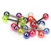 Nyelvpiercing, színes gyöngyfényű golyók