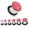 Acél alagút plug fülbe, rózsaszín glitterek