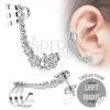 Hamis piercing fülbe acélból, átlátszó cirkóniás alma vonal