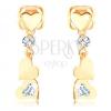 Fülbevaló 14K sárga aranyból - három lapos szív, átlátszó cirkóniák