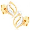 Bedugós fülbevaló 9K sárga aranyból - három hullámos vonal, kétszínű