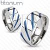 Titán gyűrű ezüst színben, magas fény, ferde kék bemetszések