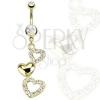 Köldökpiercing arany színben, szív alakú kontúrok és telt szív, átlátszó ciróniák