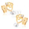 Fülbevaló 9K sárga aranyból - két szív kontúr, átlátszó cirkónia, fehér gyöngy