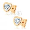 375 arany fülbevaló - fényes kontúr egyenetlen szív alakban, átlátszó cirkónia