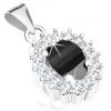 Ródiumozott medál, 925 ezüst, fekete cirkóniás ovális, átlátszó csillogó körvonal