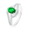 Gyűrű 925 ezüstből, összekapcsolt könnycsepp körvonalak, zöld cirkónia
