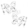 Fülbevaló 9K fehér aranyból - kis pillangó körvonal, átlátszó cirkónia