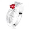 Gyűrű - három hullámos cirkónia sáv, kerek piros kő, ezüst 925
