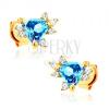 Fülbevaló 14K sárga aranyból - kék háromszöges topáz, átlátszó cirkóniák
