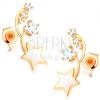 Fülbevaló 14K sárga aranyból - két vékony félhold, fehér és cirkóniás csillag