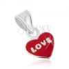 925 ezüst medál, piros fénymáz, LOVE felirat