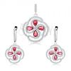 Fülbevaló és medál szett 925 ezüstből, virág átlátszó és rózsaszín cirkóniákból
