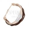 Állítható karkötő zsinórból, fehér és barna árnyalatban, acélcsövek