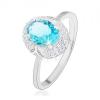 Ródiumozott gyűrű, 925 ezüst, világoskék ovális cirkónia