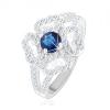 Gyűrű - 925 ezüst, szétágazó szár, átlátszó virágkörvonal, kék cirkóniával