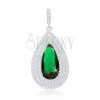 Medál 925 ezüstből, nagy smaragdzöld könnycsepp, hármas átlátszó szegéllyel