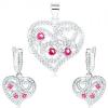 Szett - 925 ezüst fülbevaló és medál, átlátszó szív, spirálok, rózsaszín cirkóniák