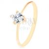 585 arany gyűrű - csiszolt cirkóniás szívecske átlátszó színben, apró, kerek cirkóniával