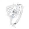 Ródiumozott 925 ezüst gyűrű, átlátszó cirkóniás virág csillogó koronával