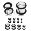 Fehér színű akril plug, fekete márványminta, két gumi