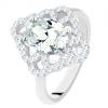 Gyűrű 925 ezüstből, csillogó rombusz, szív körvonalakkal és ovális, átlátszó cirkóniával