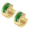 Fülbevaló 316L acélból, arany színű felület, téglalap alakú zöld cirkónia